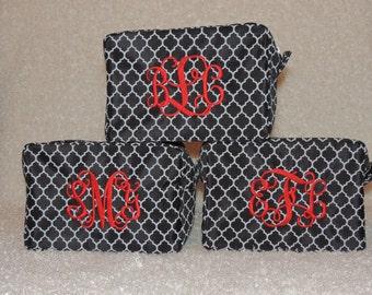Bridesmaids Gift, Makeup bag, Monogrammed makeup bag,  cosmetic bag, quatrefoil bag, Top seller