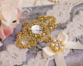 Gold Wedding Garter Set, Gold Bridal Garter Set, Ivory Lace Garter, Lace Wedding Garter, Golden Garter Set, Personalized Garter