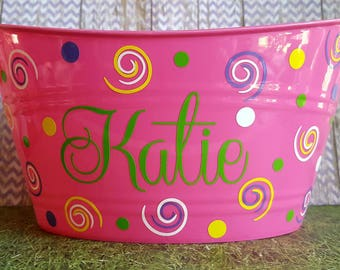 Personalized Basket with swirls, for teen or little girl.