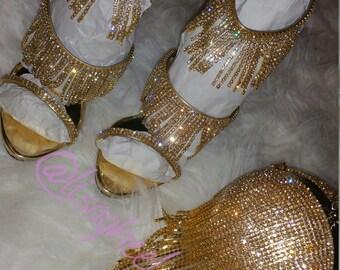 Gold Tassel Heels Handmade
