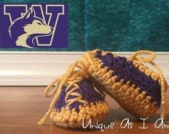 Crochet Baby Booties - Washington Huskies Colors