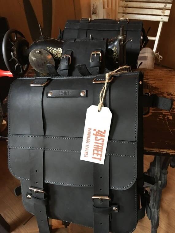 Black Motorcycle Saddle Bag, Motorcycle Leather Saddle Bag,Motorcycle Custom Made Leather Saddle Bag,