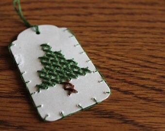 Cross Stitch Gift Tags (Christmas) - Set of Three