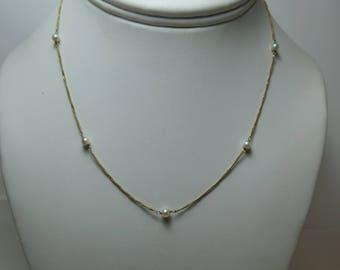 Vintage 9K & Pearl Necklace