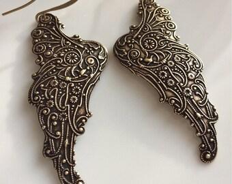 Angel Wing Earrings  Brass Angel Wings  Bohemian Earrings  Long Dangle Earrings  Boho Earrings  Gypsy Dangles