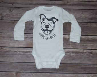 Love-A-Bull | Pittbull | Long Sleeve Baby Bodysuit