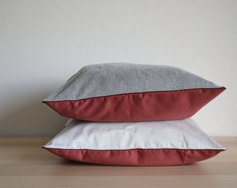 RED CUSHION COVER Set of 2. Jersey and Stripes decorative Pillow Set. Made from Cotton and Jersey.