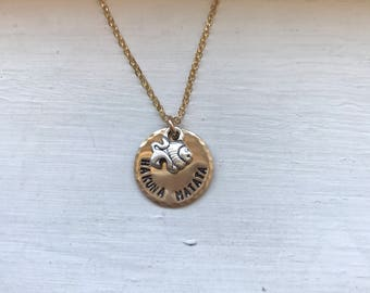 Hakuna Matata necklace, lion charm, personalized metal stamped, lion king necklace