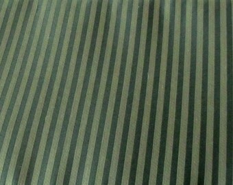 Three Yards by 60 Inches Upholstery Fabric, Medium Weight, Two Toned Green, Tuxedo Stripe
