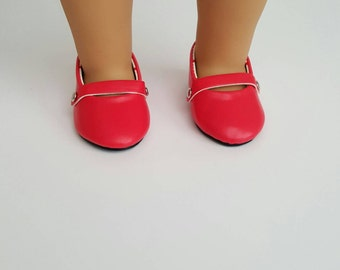Red Mary Jane Flats for 18 inch dolls