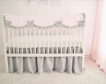 Crib bedding, girl crib bedding ,  rail guard, rail cover. bumperless crib bedding