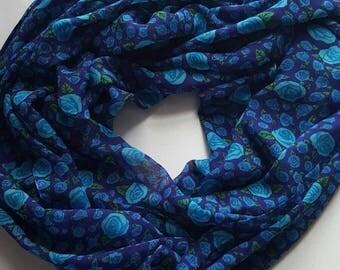 Silk Scarf-Blue Scarf-Infinity Scarf-Flora Scarf-Long Scarf