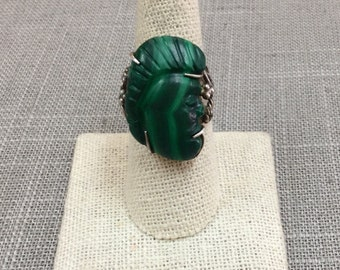 Vintage 925 Sterling Silver And Carved Malachite Ring, Size 7.5