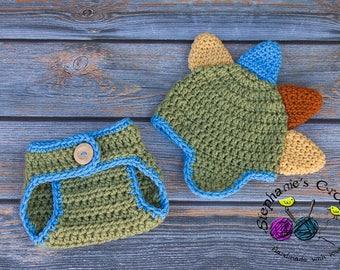 Crochet Newborn baby boy Colorful DINO Hat and Diaper Cover, dinosaur set, crochet dinosaur, dinosaur, dinosaur hat and diaper cover set
