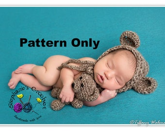 Crochet PATTERN - Bear bonnet and teddy -Instant Download PDF - Photography Prop Pattern