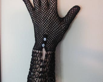BLACK HAND CROCHETED Antique Gloves With Mother of Pearl Buttons