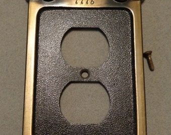 GE American Eagle 1776 Antique Brass Black Outlet Cover Plate General Electric 1974 Japan