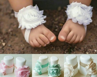 Baby sandals ,Shabby chic Barefoot sandals ,baby sandals, baby gift , Photo prop, Shabby chiffon baby accessory