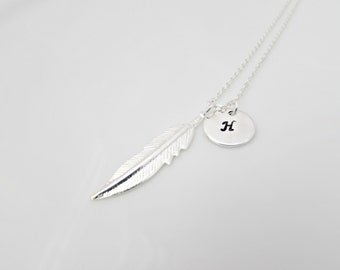 Feather Necklace, UK Seller, Gifts for Girls, Bridesmaid Gifts, Mom Gifts, Feather Jewellery, Initial Feather Jewellery, Initial Necklace