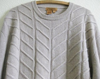 Beige Tan Cashmere Sweater Large 2-Ply SOFT Hong Kong
