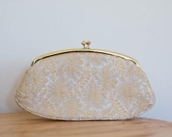 Gold Floral CLUTCH Avon Embroidered style sleek FORMAL Evening WEDDING Clutch