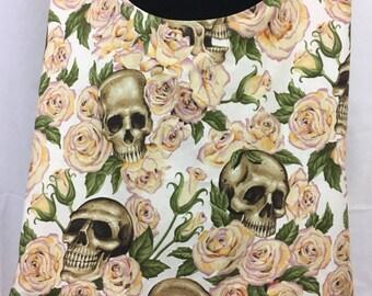Yellow roses skull hobo bag, skull sling bag, cloth bag, skull purse