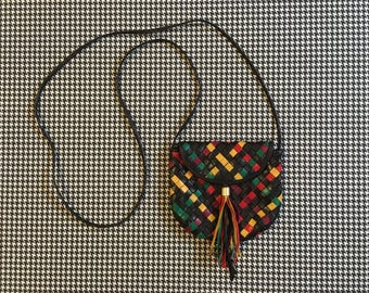 1990's, extra small, woven, leather purse, in black, with red, green and yellow, by Mannelli