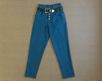 1990's, high waist, belted, buttonfly, jeans, in turquoise, by Nada Nuff, Women's size 7