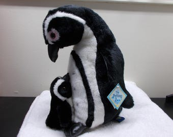 Very Large 1994 African Blackfooted Penguin Mama and Baby Petting Zoo Tags clean stuffed animal plush Soft toy Easter Christmas boy girl