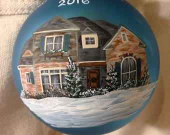 House portrait Christmas ornament. Pricing for 7-12 windows. Order by Dec 18 for rush Xmas delivery. New home gift. Your home on an ornament