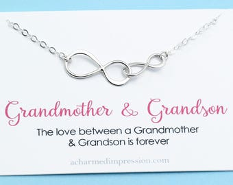 Grandmother and Grandson Necklace • Grandma Gift • Double Infinity • to Grandmother from Grandson • Infinite Love Necklace • SILVER OR GOLD