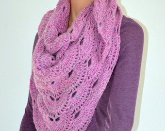 Pinkish grey Virus Shawl/ Crochet Shawl Scarf/ Crochet Wrap/ Gift for Mom/ High Fashion Shawl/ Christmas Gift/ Fall Fashion shawl