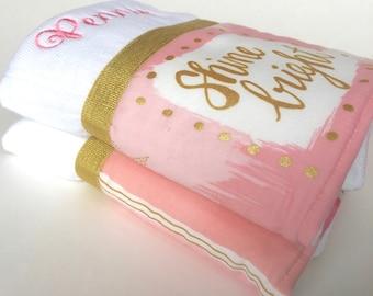 Baby burp cloth, pink gold, baby