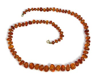 Vintage Amber Necklace Artisan Jewelry Butterscotch