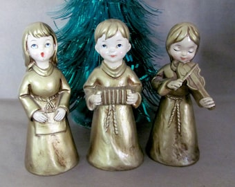 Vintage Christmas Angels, 1960's Paper Mache Angel Figurines, Musical Angels, Gold Angels, 1960's Christmas Decor, Holiday Decorations