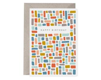 Birthday Card – Happy Birthday Bricks. Colourful Card. Birthday Card. Pattern Birthday Card. Unisex Birthday Card.