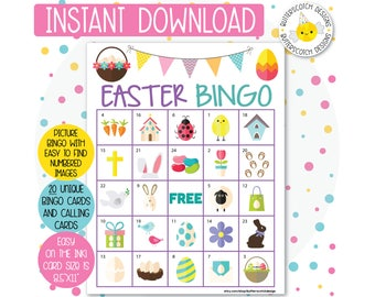 Easter Printable Bingo Cards (20 Different Cards) - Instant Download