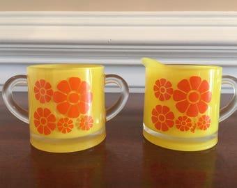 ON HOLD for E. PETERMAN  Bartlett Collins yellow and orange Daisy cream & sugar