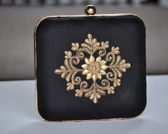 Black and Gold Box Clutch, Indian Silk Purse, Wedding Party Bag, Hand Embroidered Square Bag, Evening Clutch, Bridesmaid Gift, Under 60