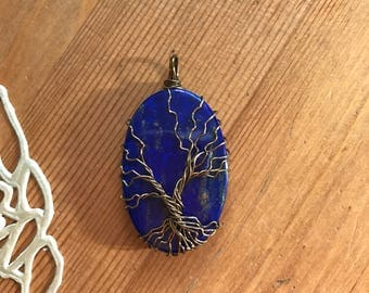 Lapis Lazuli Tree of Life Pendant Necklace