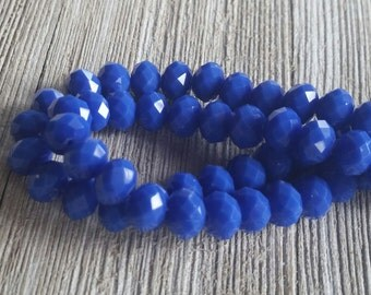 Crystal Royal Blue  Faceted Rondell Beads, jewelry supplies, crystal beads, blue, qty.30 beads