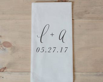 Personalized Tea Towel - Two Initials and Date