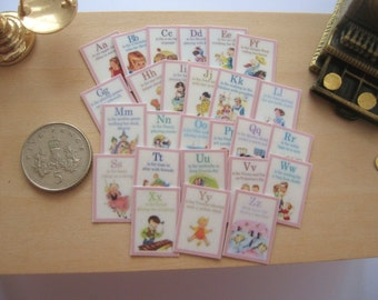 dollhouse nursery a b c  cards alphabet flash cards vintage style 1:12 scale miniature