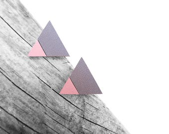 Gray Geometric Leather Post Stud Earrings