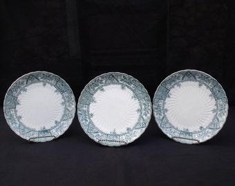 Ceramic Art Co Crown Pottery 1885 Ruskin Blue Dinner Plates set of 3