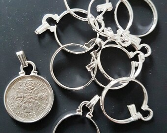 Sixpence Bezel Holder Pendant