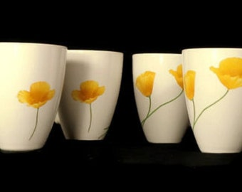 Set of 4 Pfaltzgraff Mugs White & Sunshine Yellow Flower Coffee Large Floral Mug