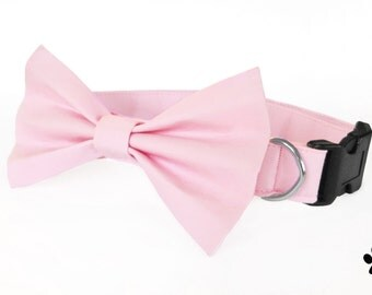 Light pink dog collar and bow tie, cat bow tie collar, adjustable with bell (optional)