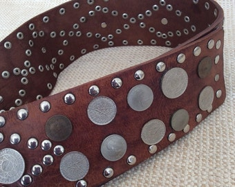 Rare vintage genuine wide studded leather gladiator belt with studs and coins