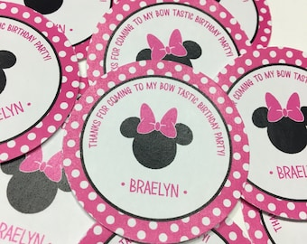 24 Minnie Mouse Birthday Stickers - Party Favor Stickers - Minnie Mouse Birthday Decorations - Minnie Mouse, Free Gift Bags